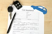 Car keys on insurance documents, close up