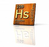 Hassium Periodic Table Of Elements - Wood Board poster