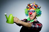 Funny clown with watering can