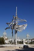 Ashgabat, Turkmenistan - October 15, 2014:  Sculpture In The Art Nouveau Style On A Central Square O