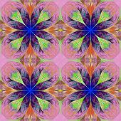 Pattern From Four Fractals  In Purple And Darkblue. Computer Generated Graphics.