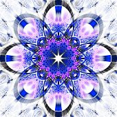 Symmetrical Fractal Pattern With Shiny Strips. Collection -  Rhinestones. .