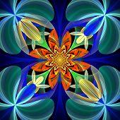 Symmetrical Pattern Of The Flower Petals. Blue And Orange Palette. On Black Background. Computer Gen
