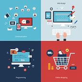 Icons for communication, web design, programming, workflow, social network and online shopping in fl