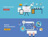 Set of flat design vector illustration concepts of creative process and website SEO optimization