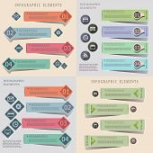 Collection of modern origami style infographic templates