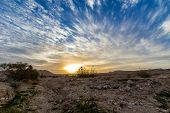 foto of morning sunrise  - Sunrise in the Israel desert earlier morning - JPG