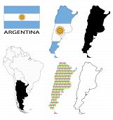 Argentina - Flag, four vector map contours and South America flag