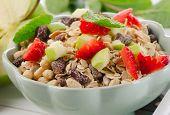 Muesli And Fresh Fruits For Breakfast