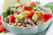 Healthy Muesli And Ripe Fruits For Breakfast