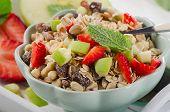 Healthy Muesli And Fresh Fruits For Breakfast