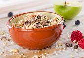 Healthy Muesli Breakfast In A Clay Bowl