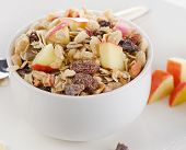 Muesli For Breakfast In  White Bowl