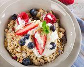 Healthy Breakfast - Fresh Berries, Yogurt And  Muesli.