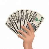 Hand With Dollarshand Holding American Dollars Isolated On White. Vector Illustration