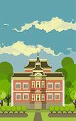 foto of manor  - Country manor two storey house on a background of the sky in a flat style - JPG