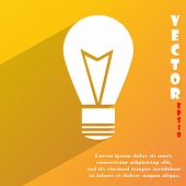 Light Lamp Icon Symbol Flat Modern Web Design With Long Shadow And Space For Your Text. Vector