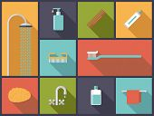 Personal Hygiene Flat Design Icons Vector Illustration. Flat design illustration with various body care icons.