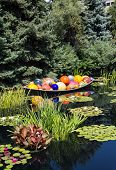 Glass Balls And Lilly Pads In Pond