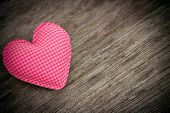 Pink Heart Love Shape On Wood Background