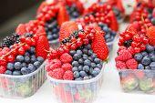 Basket With Fresh Juicy Berries On Farmer Market