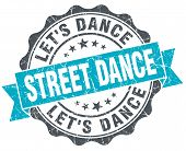 Street Dance Vintage Turquoise Seal Isolated On White