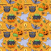 Cute Cartoon Halloween Seamless Pattern Orange