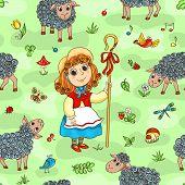 Seamless Pattern With Shepherd-girl