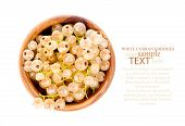 White Currant Fruit In A Wood Bowl,
