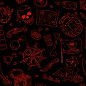 Pirate Seamless Pattern Red On Black