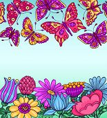 Card With Butterflies And Flowers Blue