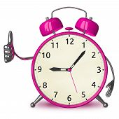 Pink Alarm Clock Giving Thumb Up