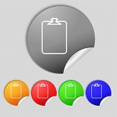 File Annex Icon. Paper Clip Symbol. Attach Sign. Set Of Coloured Buttons. Vector