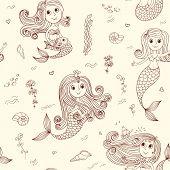 Doodle Mermaids Seamless Pattern Brown