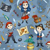 Cute Pirates Blue Seamless Pattern