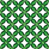 picture of emerald  - Flower braided Mesh with emeralds on a white background - JPG