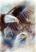 Two Eagles fractal colour efect background America symbol