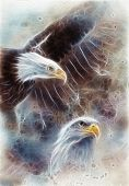 stock photo of eagles  - beautiful airbrush painting of two eagles on an abstract background one stretching his black wings to fly on abstract background - JPG