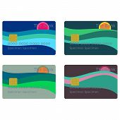Payment cards with sun over sea isolated on white