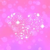 picture of compose  - Soft heart composed of stars on pink bokeh background - JPG