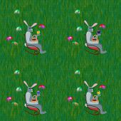 Gray rabbits on rocking chair front grass lawn with hidden easter eggs