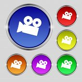 Video Camera Sign Icon. Content Button. Set Colourful Buttons. Vector