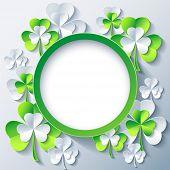 Patricks Day Background, Frame With 3D Leaf Clover