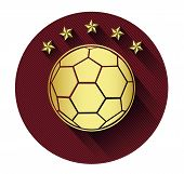 Golden soccer ball and five star icon with long shadow effect