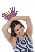 Woman Raised Her Hands Up Like Horns Painted With Paint