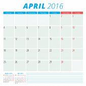 Calendar 2016 Vector Flat Design Template. April. Week Starts Monday