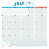 Calendar 2016 Vector Flat Design Template. July. Week Starts Monday