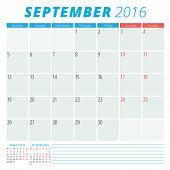 Calendar 2016 Vector Flat Design Template. September. Week Starts Monday