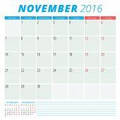 Calendar 2016 Vector Flat Design Template. November. Week Starts Monday