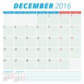 Calendar 2016 Vector Flat Design Template. December. Week Starts Monday
